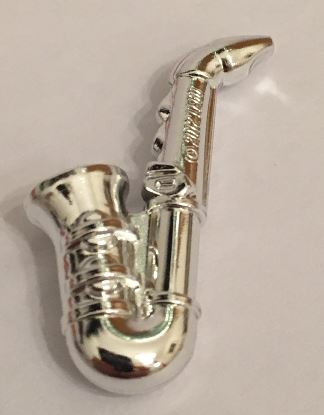 Chrome Silver Minifig, Utensil Saxophone  13808 Custom Chromed by BUBUL
