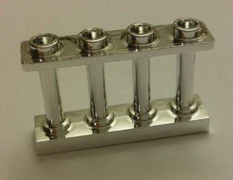 Chrome Silver Fence Spindled 1 x 4 x 2 with 4 Studs  number: 15332 Custom Chromed by Bubul