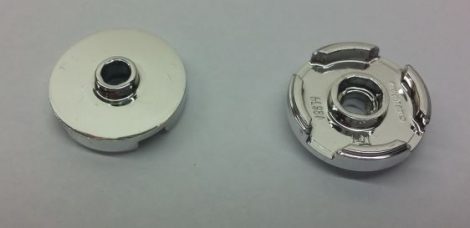 18674 Chrome Silver Tile, Round 2 x 2 with Open Stud  18674 Custom Chromed by BUBUL