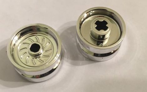 Chrome Silver Wheel 18mm D. x 12mm with Axle Hole and Stud  18976 Custom Chromed by BUBUL
