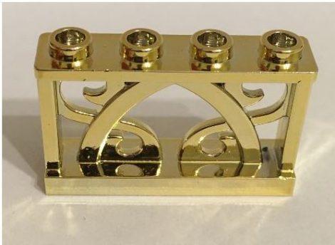 Chrome Gold Fence 1 x 4 x 2 Ornamental with 4 Studs Original Lego part: 19121  Custom Chromed by BUBUL