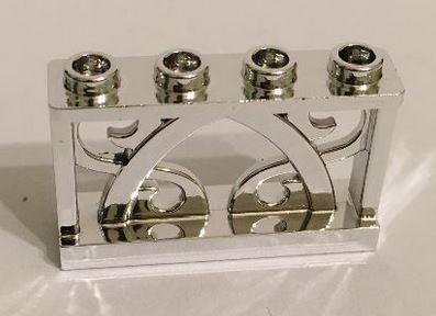 Chrome Silver Fence 1 x 4 x 2 Ornamental with 4 Studs  19121  Custom Chromed by BUBUL