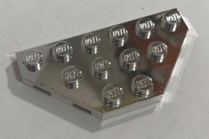 Chrome Silver Wedge, Plate 3 x 6 Cut Corners  2419 Custom Chromed by BUBUL