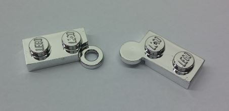 Chrome Silver Hinge Plate 1 x 4 Swivel Top / Base Complete Assembly  2429 c01 Custom chromed by BUBUL