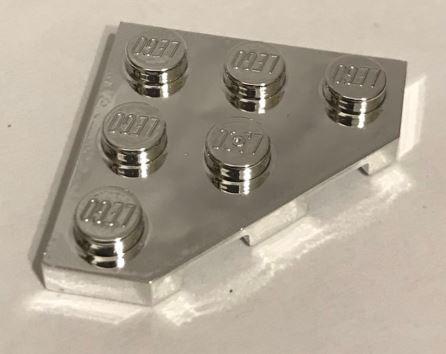 Chrome Silver Wedge, Plate 3 x 3 Cut Corner  Part: 2450 Custom chromed by Bubul