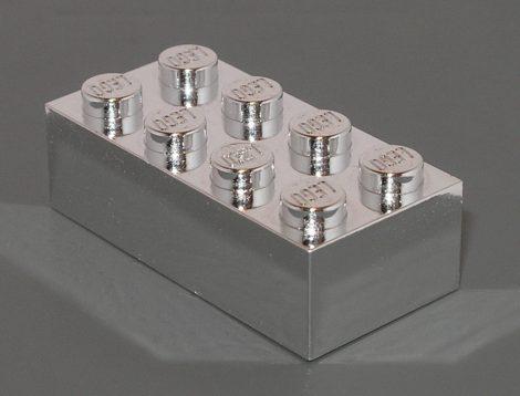Chrome Silver Brick 2 x 4   3001  Custom Chromed by Bubul