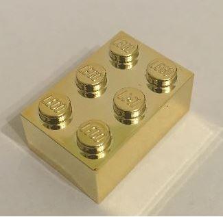 Chrome Gold LegoBrick 2 x 3 Original Lego part: 3002 Custom Chromed by BUBUL