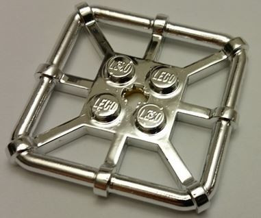 Chrome Silver Plate, Modified 2 x 2 with Bar Frame Square number: 30094 Custom Chromed by Bubul
