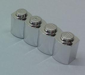 Chrome Silver Brick, Modified 1 x 4 Log  Part: 30137 Custom Chromed by Bubul