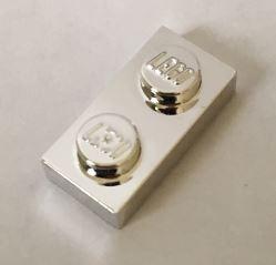 3023 Chrome_Silver Plate 1 x 2 Original Part: 3023 Custom chromed by Bubul
