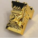 Chrome Gold Brick, Modified 2 x 3 x 3 with Cutout and Lion Head Original Lego part: 30274 Custom chromed by BUBUL