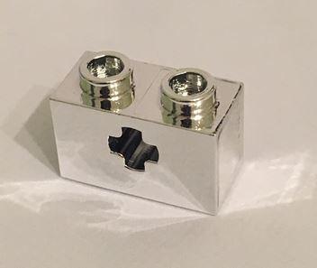 Chrome Silver Technic, Brick 1 x 2 with Axle Hole  32064 similar 32064b 32064c or 31493 Custom Chromed by BUBUL