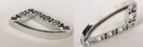 Chrome Silver Technic, Liftarm 3 x 5 L-Shape with Quarter Ellipse Thin  32250 Custom Chromed by BUBUL