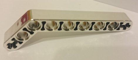 Chrome Silver Technic, Liftarm 1 x 9 Bent (7 - 3) Thick   32271  Custom Chromed by BUBUL