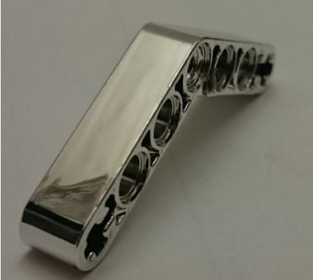 Chrome Silver Technic, Liftarm 1 x 7 Bent (4 - 4) Thick  32348 Custom chromed by Bubul