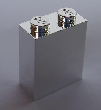 Chrome Silver Brick 1 x 2 x 2 with Inside Axle Holder  3245 or 3245c or 3245b or 772 Custom Chromed by BUBUL