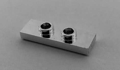Chrome Silver Plate, Modified 1 x 3 with 2 Studs (Double Jumper)  34103 Custom Chromed by BUBUL