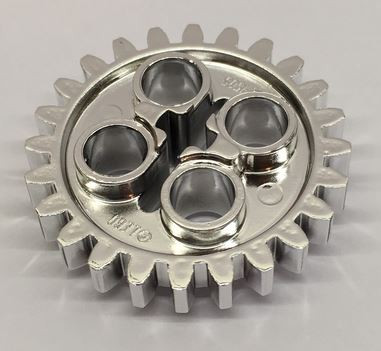 Chrome Silver Technic, Gear 24 Tooth (New Style with Single Axle Hole)   3648 or 24505 or :x187  Custom Chromed by BUBUL