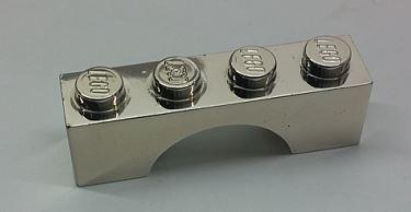Chrome Silver Brick, Arch 1 x 4  Part: 3659  Custom Chromed by Bubul
