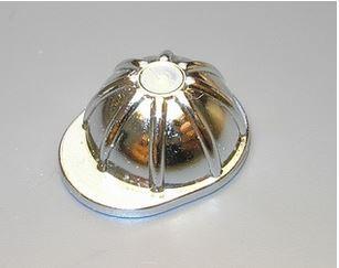 Chrome Silver Minifig, Headgear Construction Helmet  3833 Custom chromed by Bubul