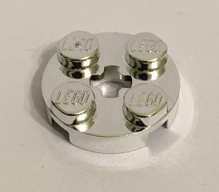 Chrome Silver Plate, Round 2 x 2 with Axle Hole   4032  Custom Chromed by BUBUL