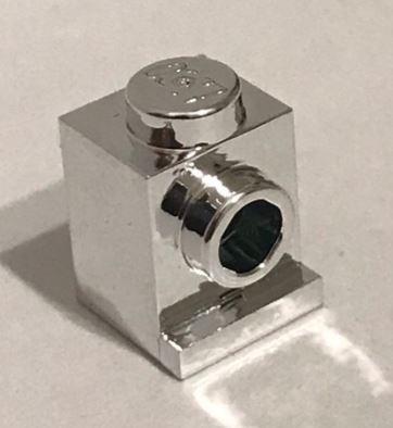Chrome Silver Brick, Modified 1 x 1 with Headlight  4070 Custom Chromed by BUBUL