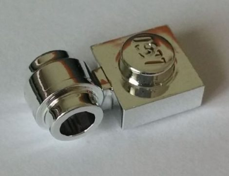 Chrome Silver Plate, Modified 1 x 1 with Clip Light - Thick Ring  Part: 4081b 4081 Custom Chromed by Bubul