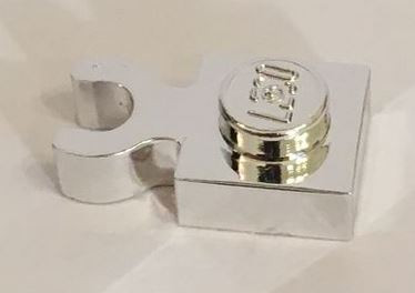 4085 Chrome Silver Plate, Modified 1 x 1 with Clip Vertical - Type 4 (thick open O clip)   Part: 4085d 4085 or 44860 Custom chromed by Bubul