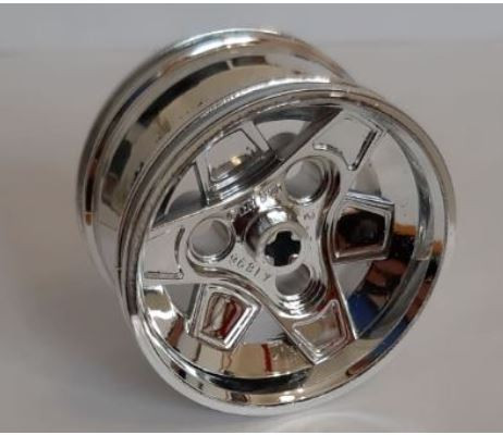 Chrome Silver Wheel 43.2mm D. x 26mm Technic Racing Small, 3 Pin Holes 41896  Custom chromed by Bubul