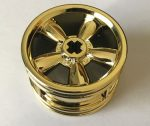 Chrome GOLD Wheel 30.4mm D. x 20mm with No Pin Holes and 5 Large Spokes  42716 Custom Chromed by BUBUL