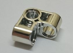 Chrome Silver Technic, Pin Connector Perpendicular 2 x 2 Bent   44809  Custom Chromed by BUBUL
