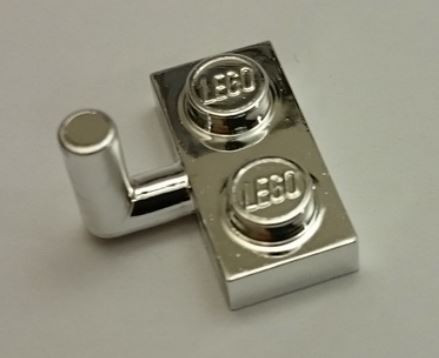 Chrome Silver Plate, Modified 1 x 2 with Arm Up (Horizontal Arm Length 6mm)   4623 or 43876 or 88072  Custom chromed by BUBUL