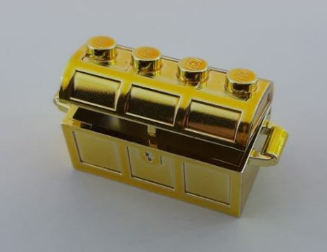 4738 Chrome GOLD Container, Treasure Chest, Complete Assembly - Thick Hinge, Slots in Back   4738ac01  Custom chromed by Bubul