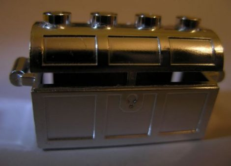 4738 Chrome Silver Container, Treasure Chest, Complete Assembly - Thick Hinge, Slots in Back   4738ac01  Custom chromed by Bubul