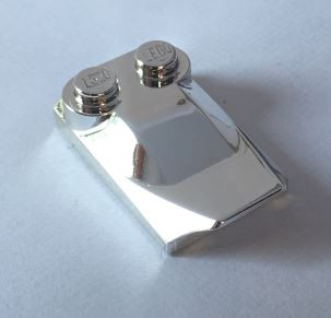 Chrome Silver Brick, Modified 2 x 3 x 2/3 Two Studs, Wing End  47456 Custom Chromed by BUBUL