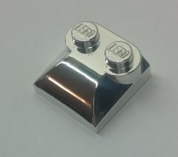 Chrome Silver Brick, Modified 2 x 2 x 2/3 Two Studs, Curved Slope End  47457 Custom Chromed by BUBUL
