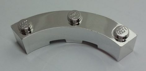 Chrome Silver Brick, Round Corner 4 x 4 Macaroni Wide with 3 Studs  Part: 48092 Custom chromed by Bubul