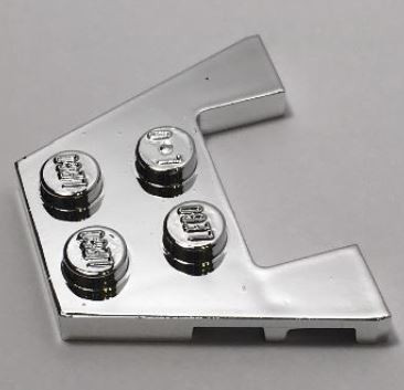 48183 Chrome Silver Wedge, Plate 3 x 4 with Stud Notches  48183 or 90194 or 28842 Custom Chromed by BUBUL
