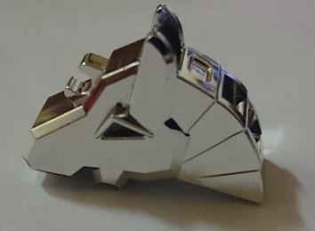 Chrome Silver Horse Battle Helmet, Angular   Part: 48492  Custom Chromed by Bubul