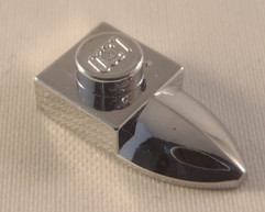 Chrome Silver Plate, Modified 1 x 1 with Tooth  49668 Custom chromed by Bubul