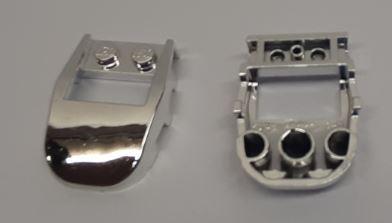 Chrome Silver Wedge 4 x 3 Cut Back with Cutout, 2 Studs  50948 Custom Chromed by BUBUL
