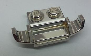 Chrome Silver Plate, Modified 1 x 2 with Racers Car Grille  Part: 50949 Custom Chromed by Bubul