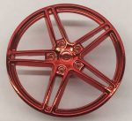 Chrome-RED Wheel Cover 5 Spoke without Center Stud - 35mm D. - for Wheels 54087, 56145 or 44292  part 54086 Chromed by Bubul