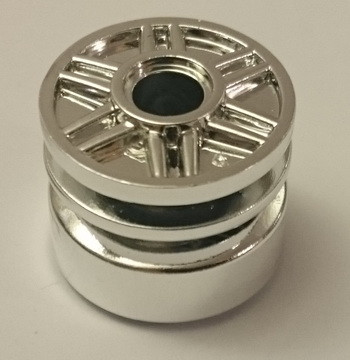 Chrome Silver Wheel 18mm D. x 14mm with Pin Hole, Fake Bolts and Shallow Spokes  55981 Custom Chromed by Bubul