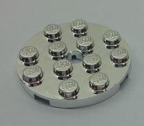 Chrome Silver Plate, Round 4 x 4 with Hole  60474 Custom Chromed by BUBUL