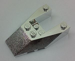 Chrome Silver Wedge 6 x 4 Cutout with Stud Notches  6153 b Custom Chromed by BUBUL