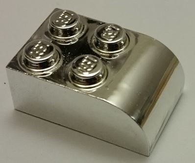 Chrome Silver Brick, Modified 2 x 3 with Curved Top  6215 Custom chromed by BUBUL
