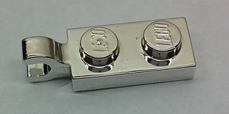 Chrome Silver Plate, Modified 1 x 2 with Clip Horizontal on End  63868 Custom Chromed by BUBUL