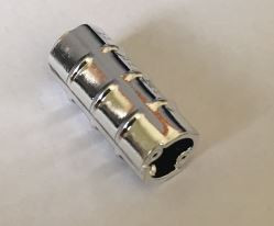 Chrome Silver Technic, Axle Connector 2L (Ridged with x Hole x Orientation)  6538b Custom Chromed by BUBUL