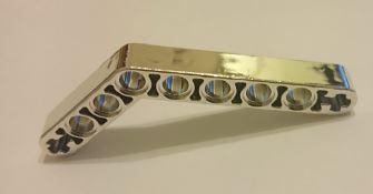 Chrome Silver Technic, Liftarm 1 x 9 Bent (6 - 4) Thick  Part: 6629 Custom chromed by Bubul